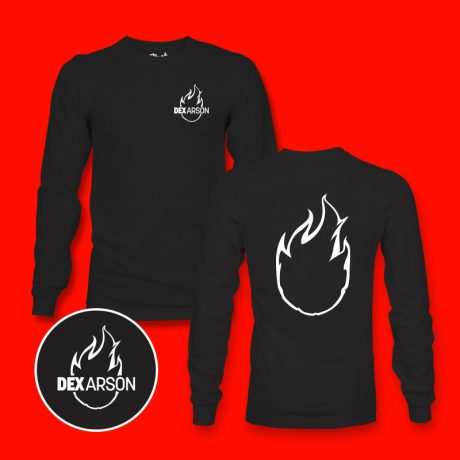 The-Merch-Factory-Dex-Arson-Long Sleeve Tee -Black , SM, MD, LG, XL